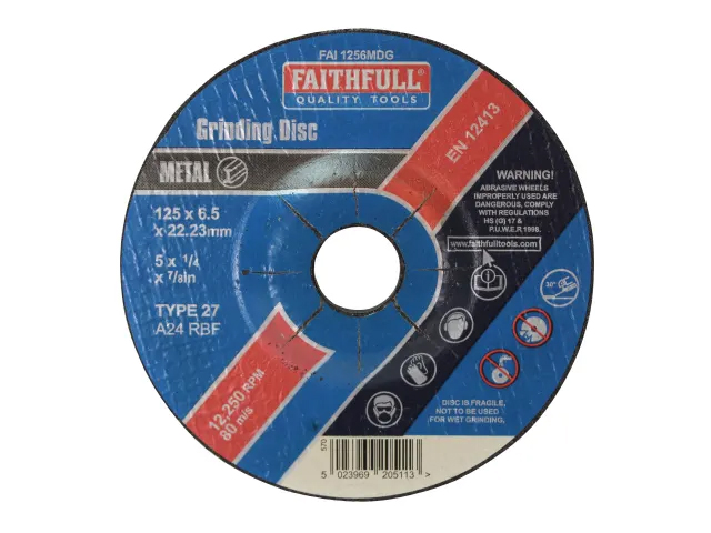 FAITHFULL METAL GRINDING DISC DEPRESSED CENTRE 125 X 6.5 X 22.23MM