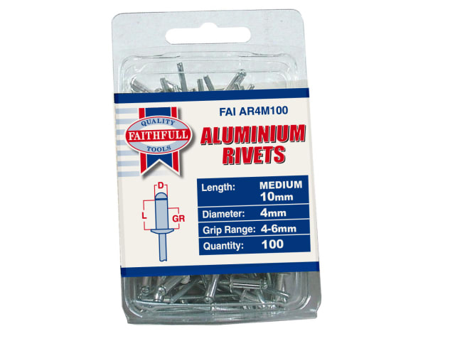 FAITHFULL ALUMINIUM RIVETS 4MM X 10MM MEDIUM PACK OF 100