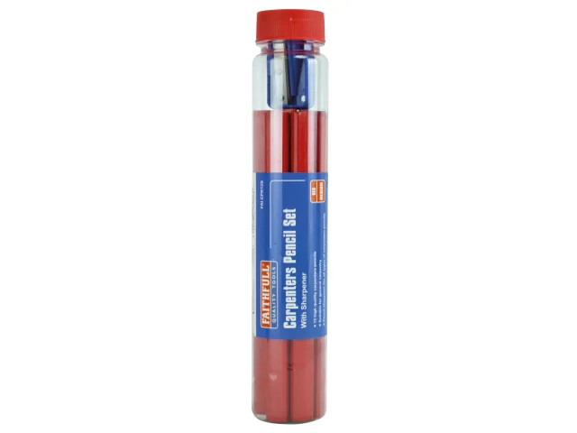 FAITHFULL CARPENTERS PENCILS RED & SHARPNER