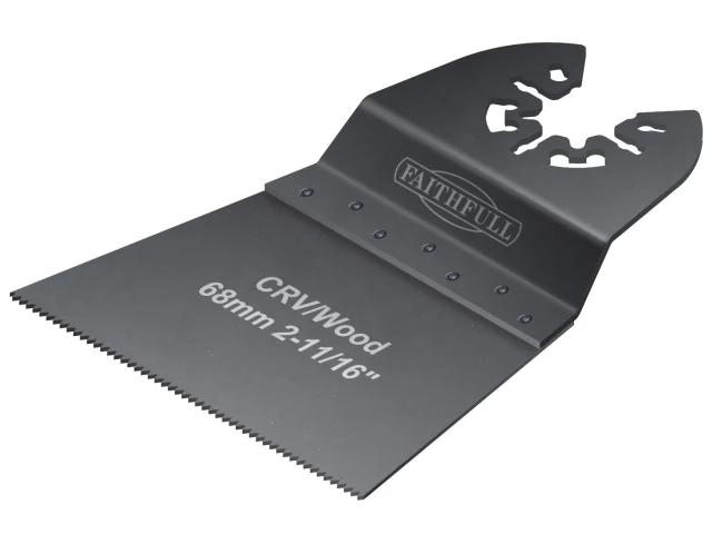 Faithfull Multi-Function Tool CRV Flush Cut Wood Blade Side Set 68mm (Pack of 5)