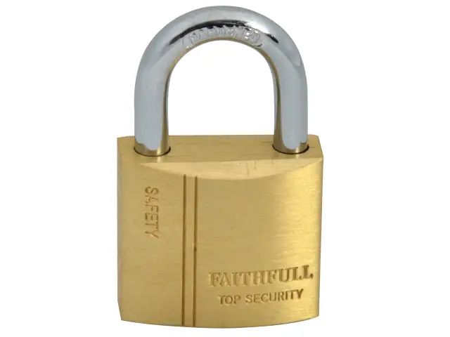 FAITHFULL BRASS PADLOCK 30MM - 3 KEYS