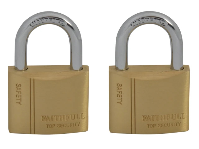 FAITHFULL BRASS PADLOCK 40MM KEYED-ALIKE (TWIN PACK)