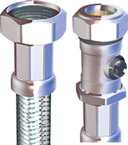 "COMPRESSION FLEXIBLE TAP CONNECTOR WITH VALVE 22MM X 3/4"" X 300mm"