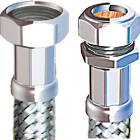 "COMPRESSION FLEXIBLE TAP CONNECTOR 15MM X 3/4"" X 300MM"