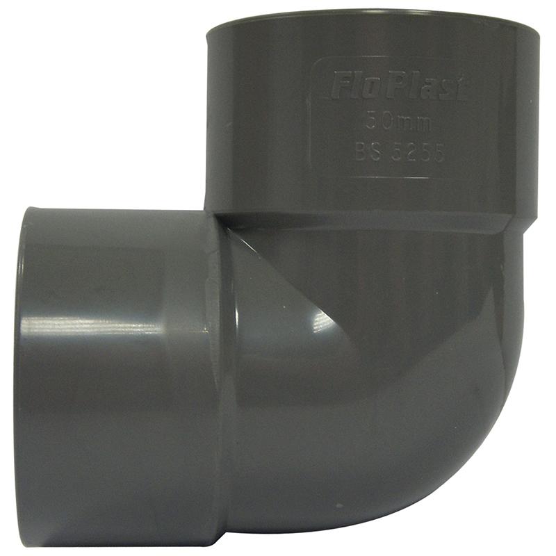 Floplast WS10GR 32mm (36mm) ABS Solvent Weld Waste System 90 Degree Bend - Grey