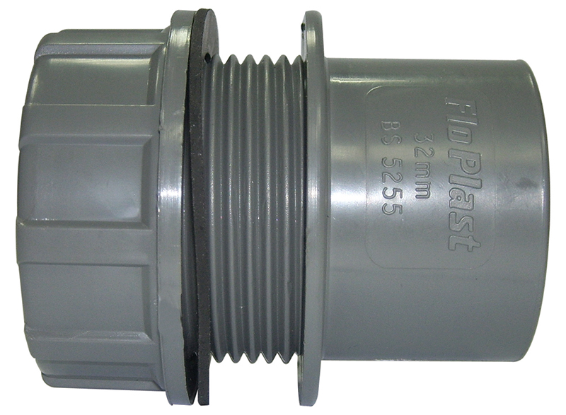 Floplast WS61GR 40mm (43mm) ABS Solvent Weld Waste System Tank Connector - Grey