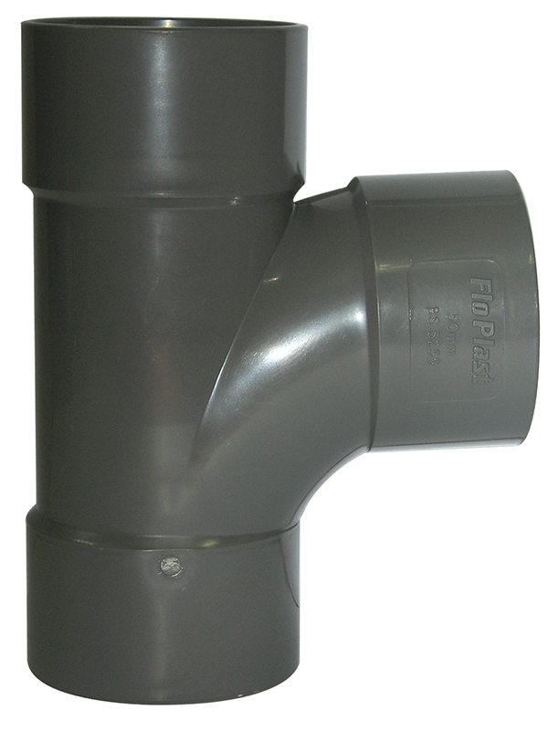 Floplast WS23GR 40mm (43mm) ABS Solvent Weld Waste System Tee - Grey