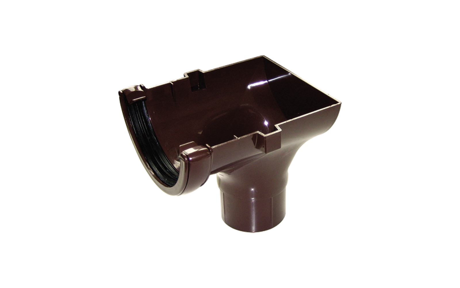 FLOPLAST HALF ROUND GUTTER - RO2 STOPEND OUTLET - BROWN