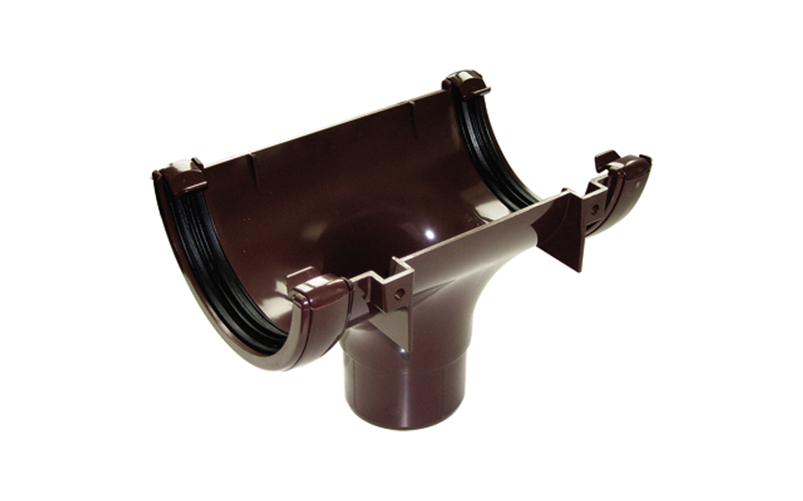 FLOPLAST HALF ROUND GUTTER - RO1 RUNNING OUTLET - BROWN