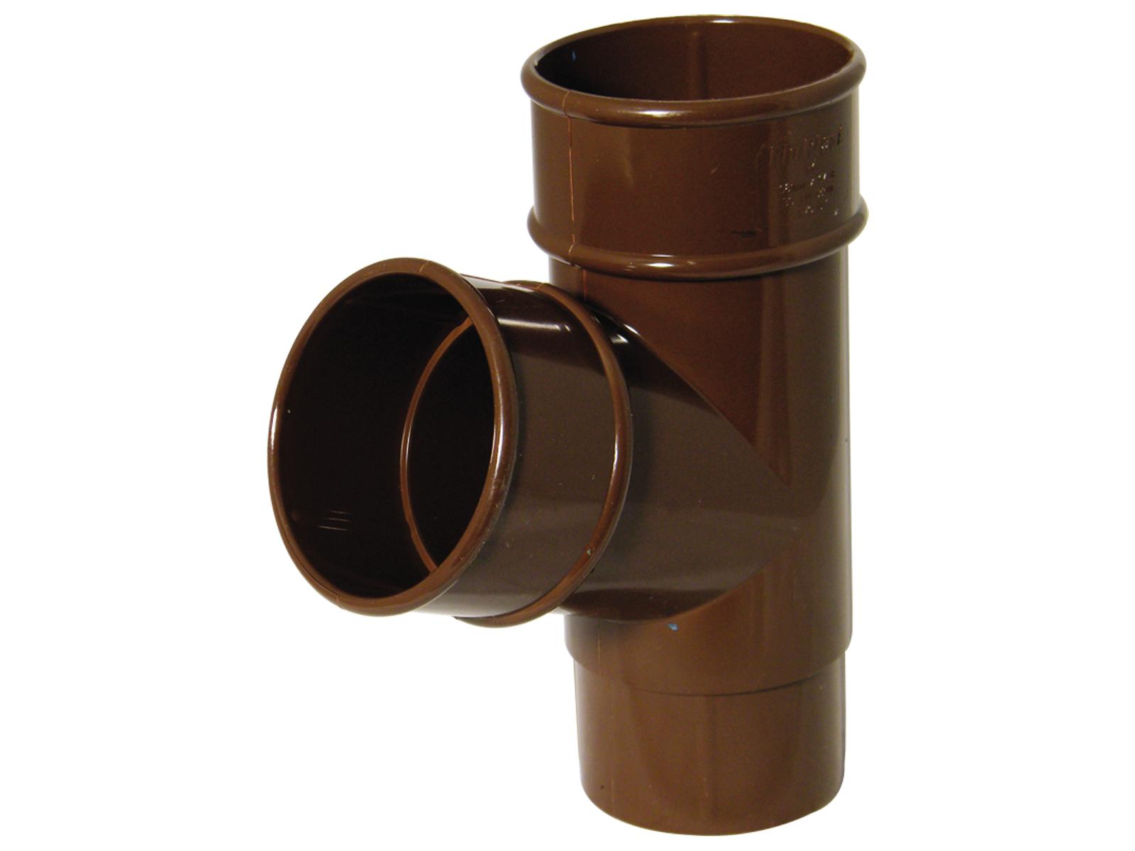 Floplast RY1BR 68mm Round Downpipe - 67.5* Branch - Brown