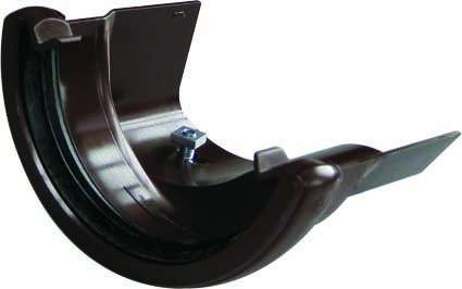 FLOPLAST HALF ROUND GUTTER TO CAST IRON OGEE - RD3 RIGHT HAND ADAPTOR - BROWN