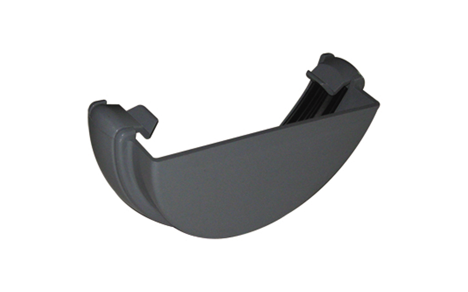 FLOPLAST HALF ROUND GUTTER - RE1 EXTERNAL STOPEND - GREY