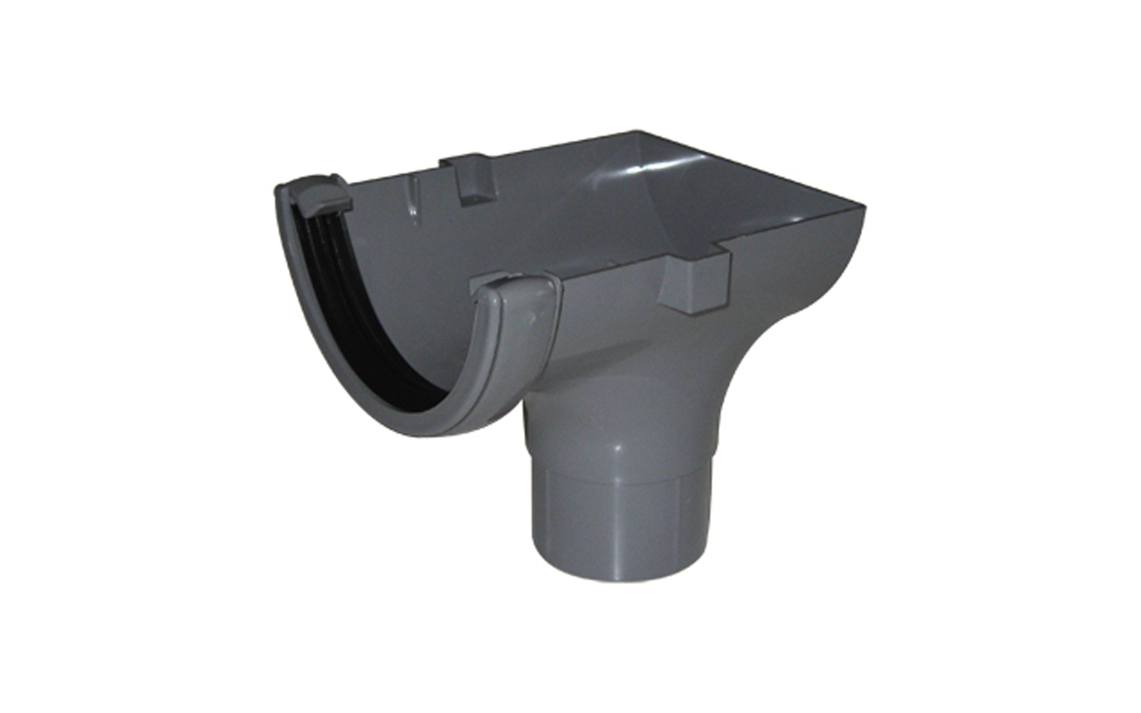 FLOPLAST RO2GR HALF ROUND GUTTER - STOPEND OUTLET - GREY