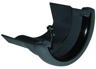 FLOPLAST HALF ROUND GUTTER TO CAST IRON OGEE - RD4 LEFT HAND ADAPTOR - GREY