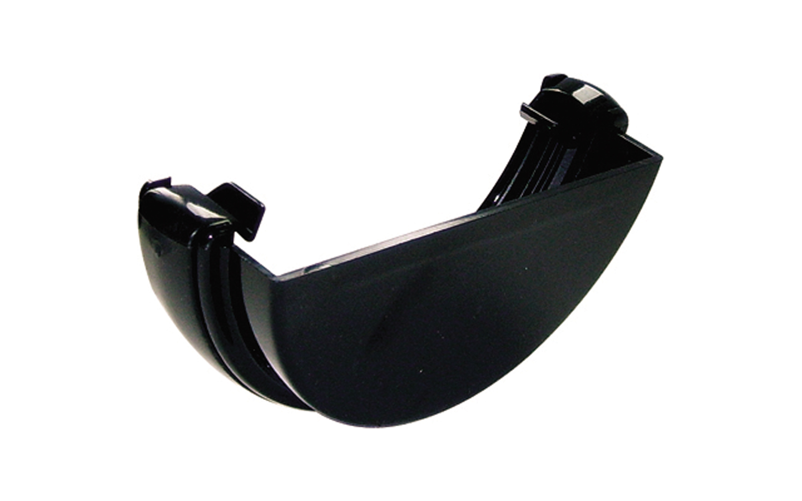 FLOPLAST HALF ROUND GUTTER - RE1 EXTERNAL STOPEND - BLACK