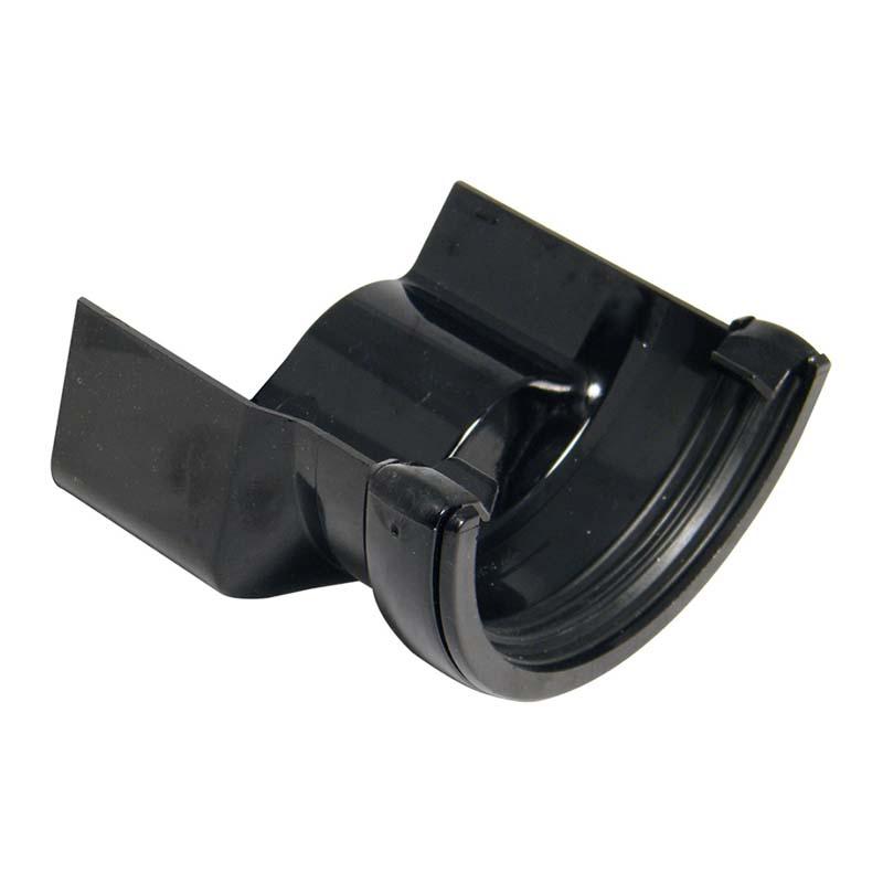 Floplast RD4BL 112mm Half Round Gutter to Cast Iron Ogee - Left Hand Adaptor - Black