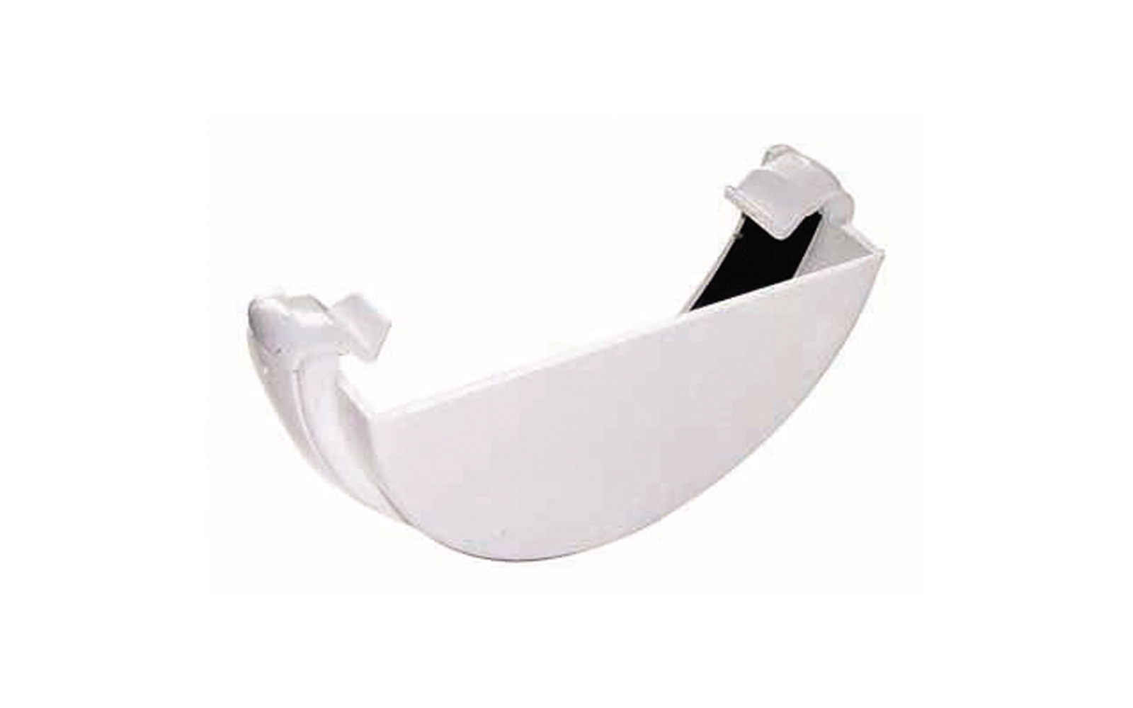 FLOPLAST HALF ROUND GUTTER - RE1 EXTERNAL STOPEND - WHITE