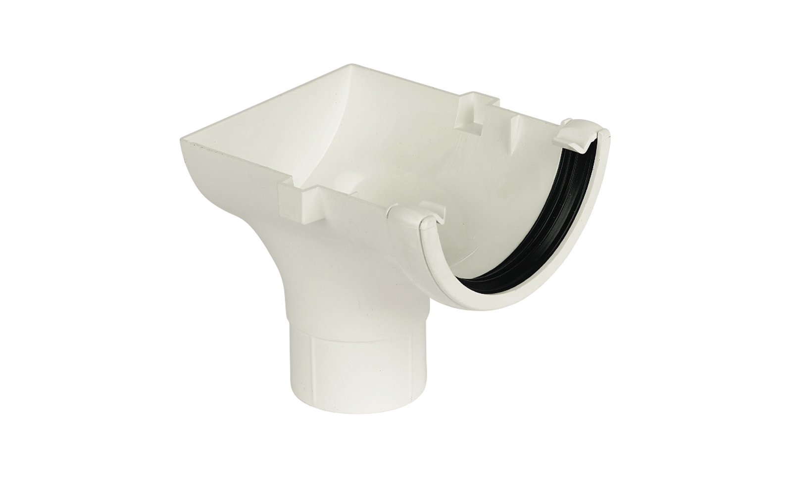 FLOPLAST RO2WH HALF ROUND GUTTER - STOPEND OUTLET - WHITE
