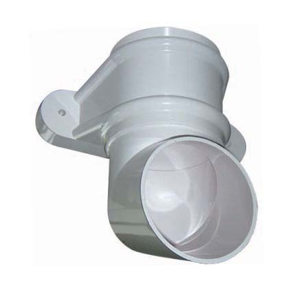 Floplast RB4WH 68mm Round Downpipe - Shoe (With Fixing Lugs) - White