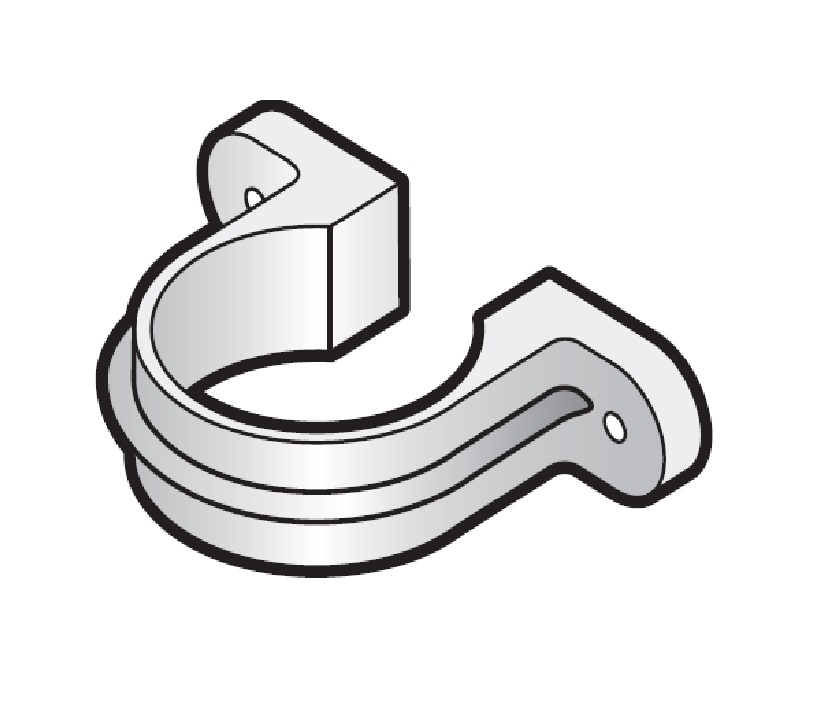 Floplast RC4WH 68mm Round Downpipe - Pipe Clip With Fixing Lugs - White