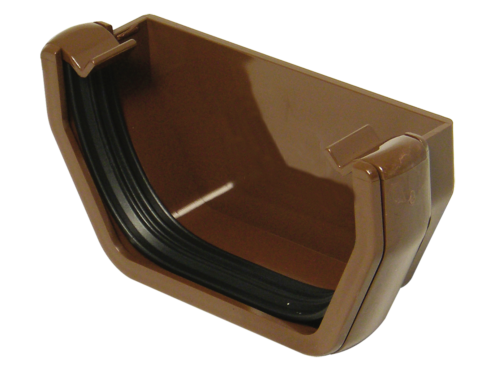FLOPLAST SQUARE LINE GUTTER - RES1 EXTERNAL STOPEND - BROWN