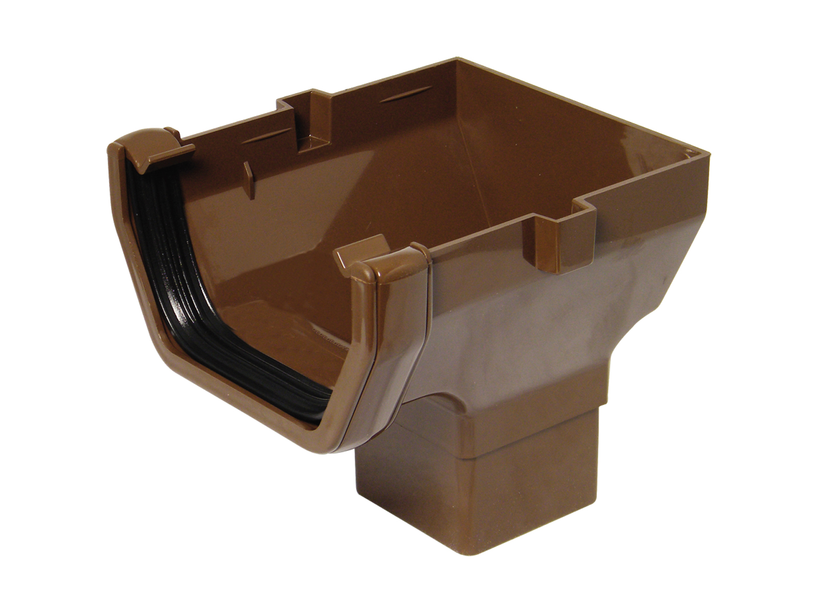 FLOPLAST SQUARE LINE GUTTER - ROS2 STOP END OUTLET - BROWN