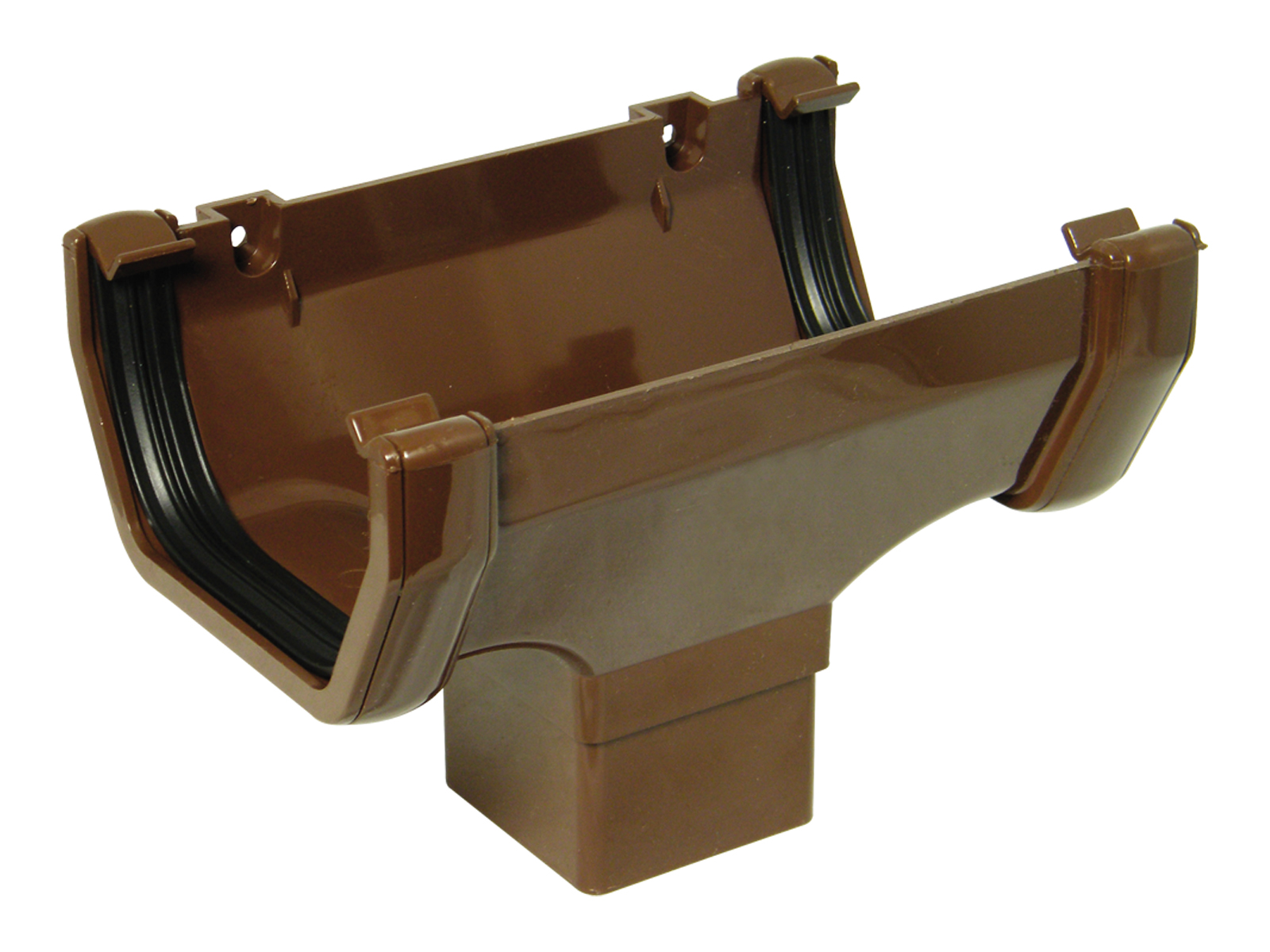 FLOPLAST SQUARE LINE GUTTER - ROS1 RUNNING OUTLET - BROWN