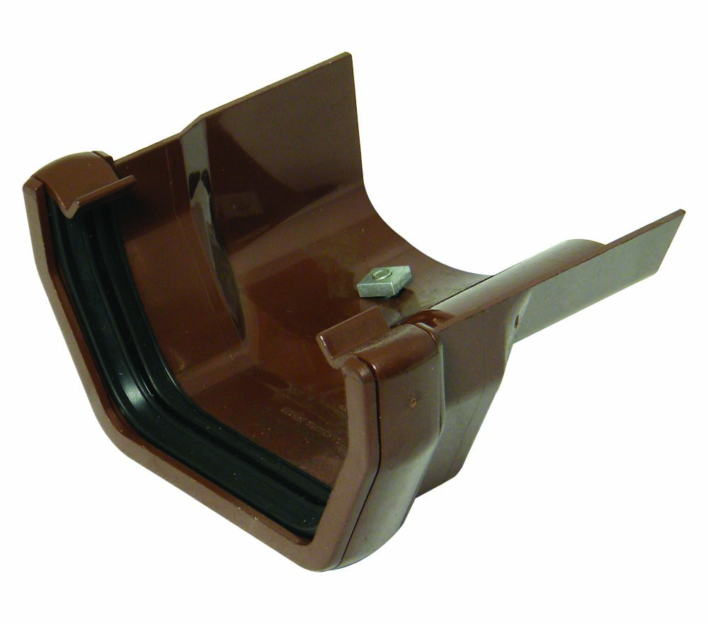 FLOPLAST SQUARE GUTTER TO CAST IRON OGEE - RDS3 RIGHT HAND ADAPTOR - BROWN
