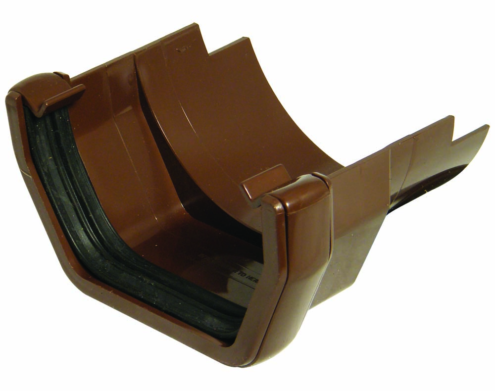 FLOPLAST SQUARE GUTTER TO CAST IRON HALF ROUND - RDS5 ADAPTOR - BROWN