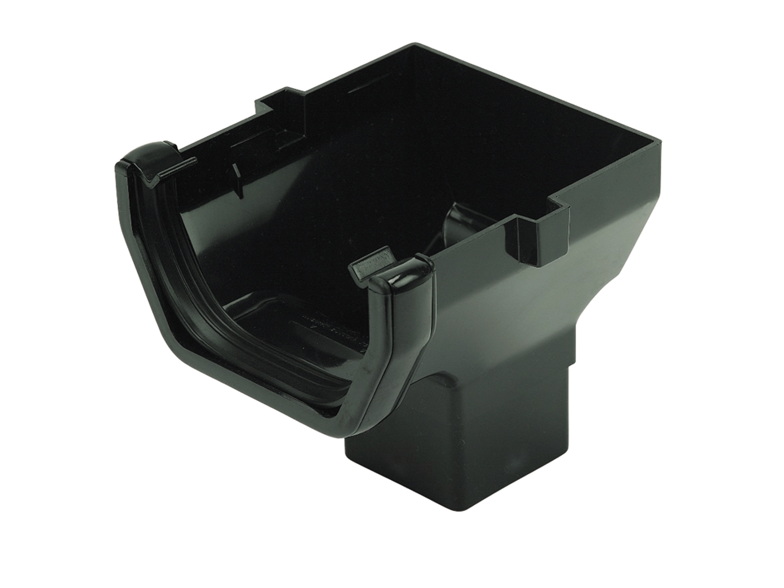 FLOPLAST SQUARE LINE GUTTER - ROS2 STOP END OUTLET - BLACK