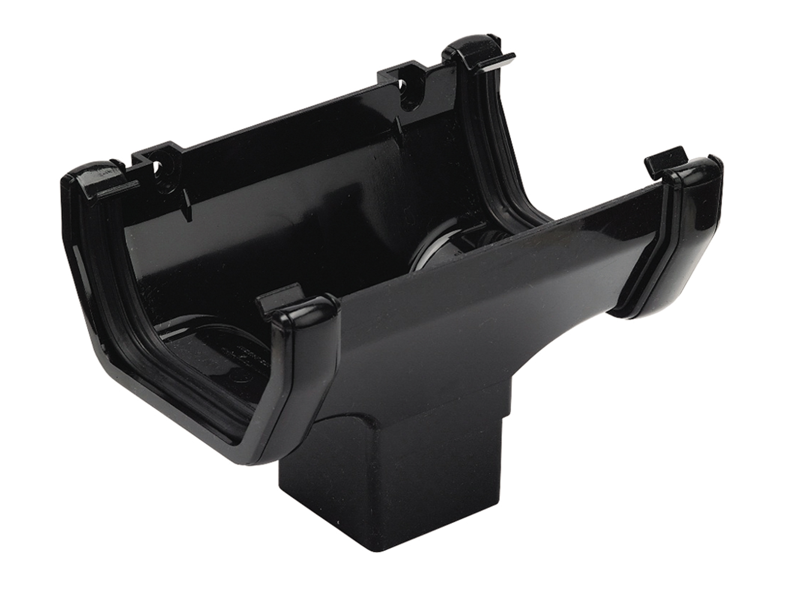 FLOPLAST SQUARE LINE GUTTER - ROS1 RUNNING OUTLET - BLACK