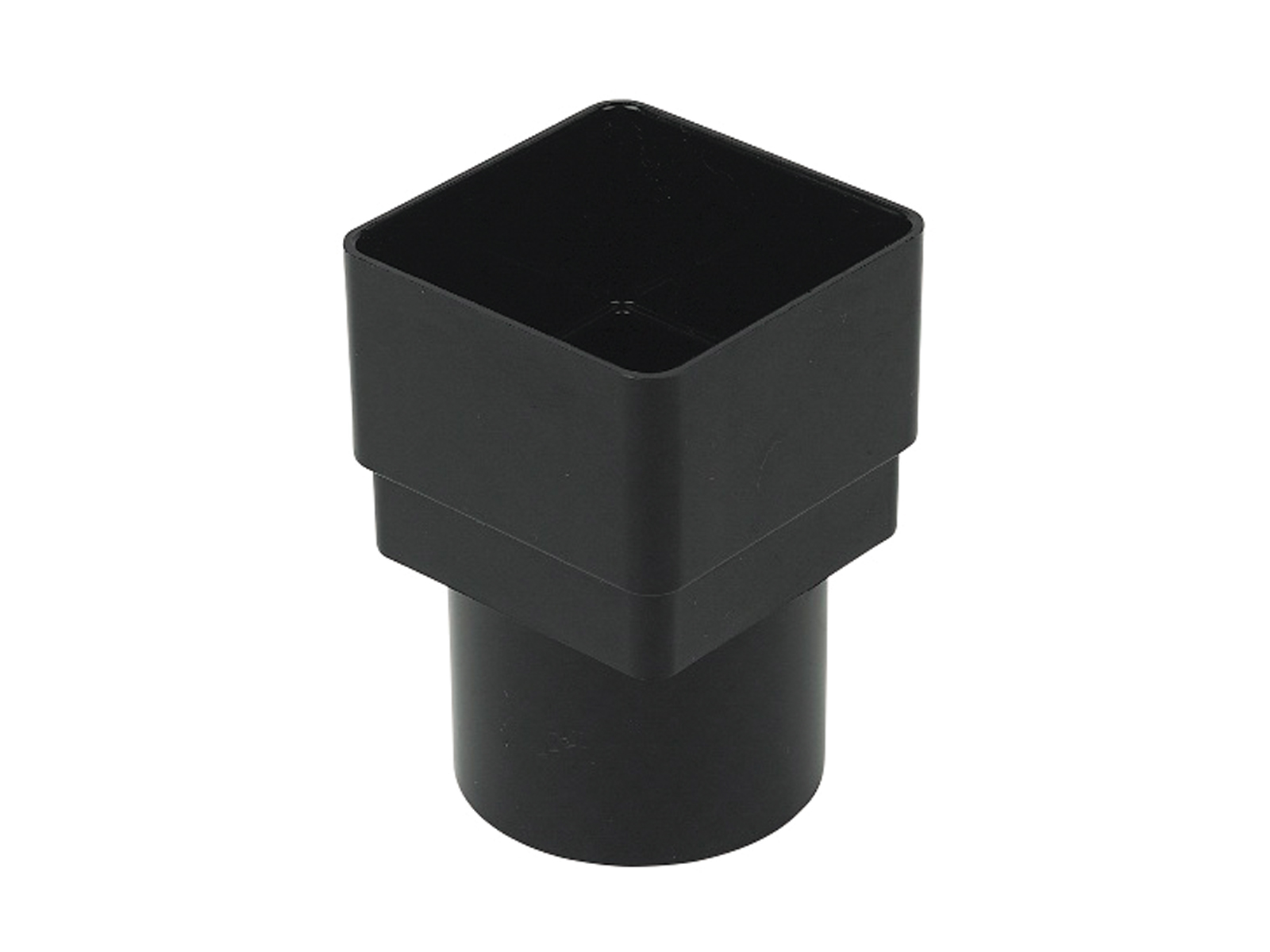 FLOPLAST RDS2BL 65MM SQUARE TO 68MM ROUND DOWNPIPE CONNECTOR - BLACK