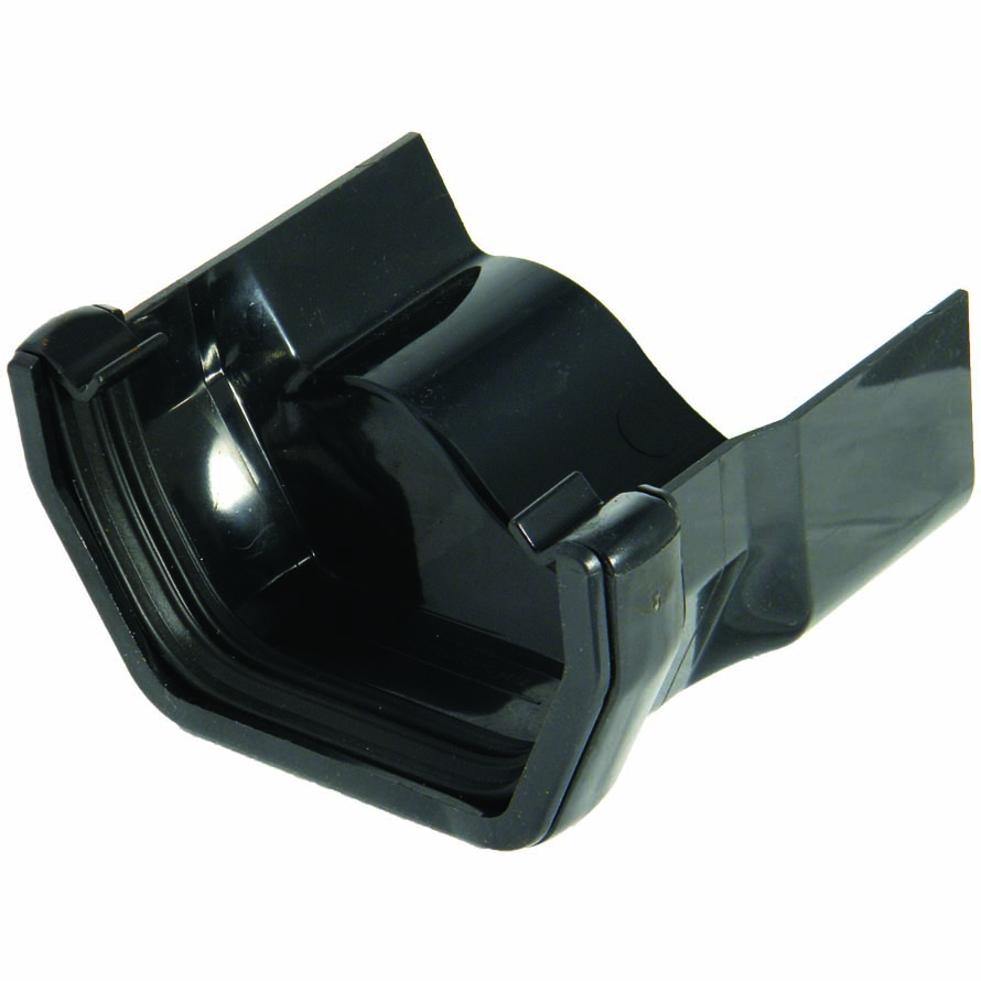 FLOPLAST SQUARE GUTTER TO CAST IRON OGEE - RDS3 RIGHT HAND ADAPTOR - BLACK