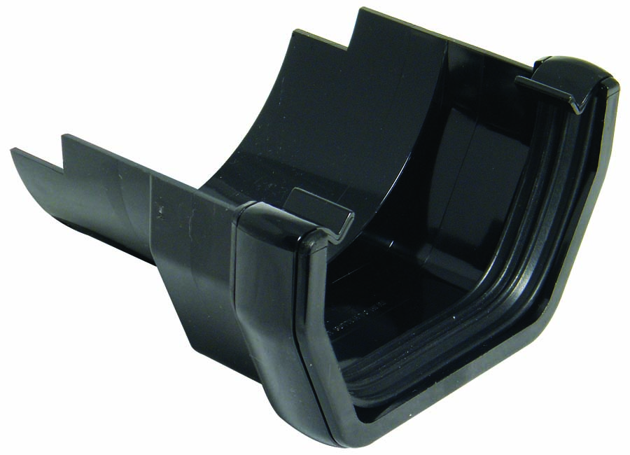 FLOPLAST SQUARE GUTTER TO CAST IRON HALF ROUND - RDS5 ADAPTOR - BLACK