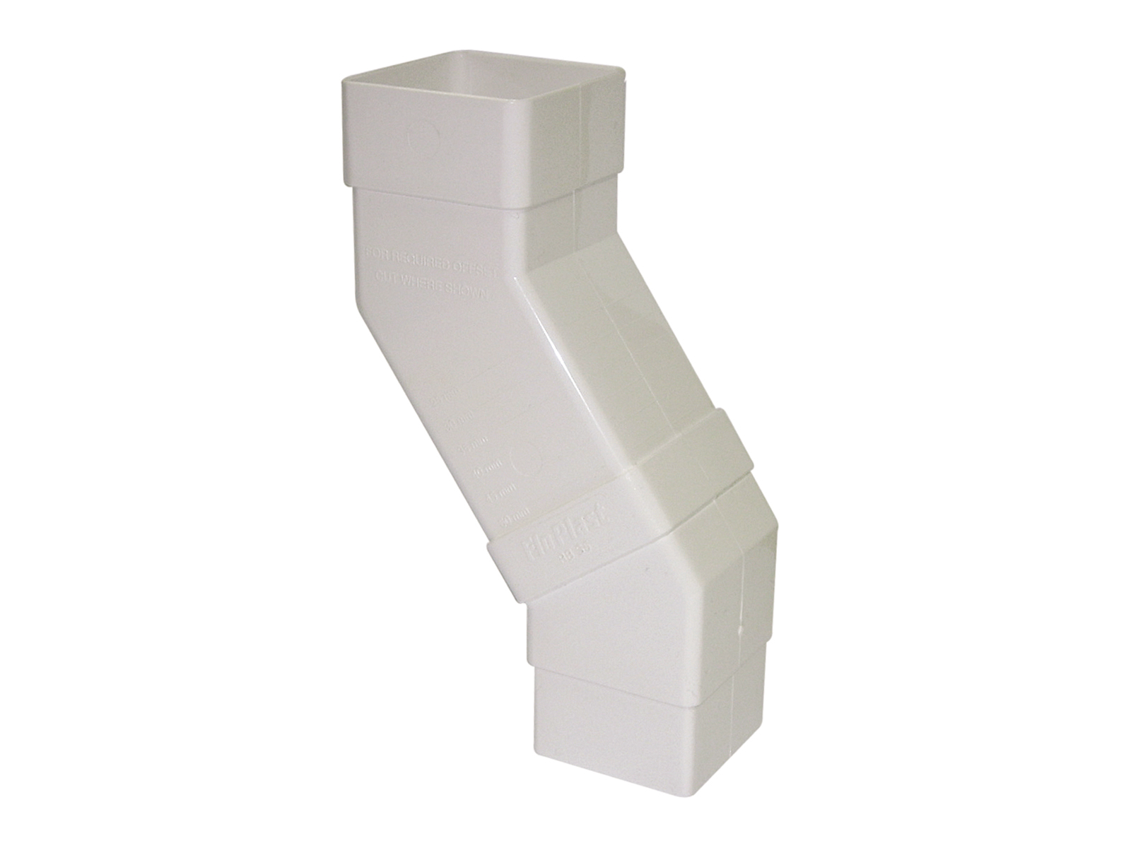 FLOPLAST RBS5WH 65MM SQUARE DOWNPIPE - ADJUSTABLE OFFSET BEND - WHITE
