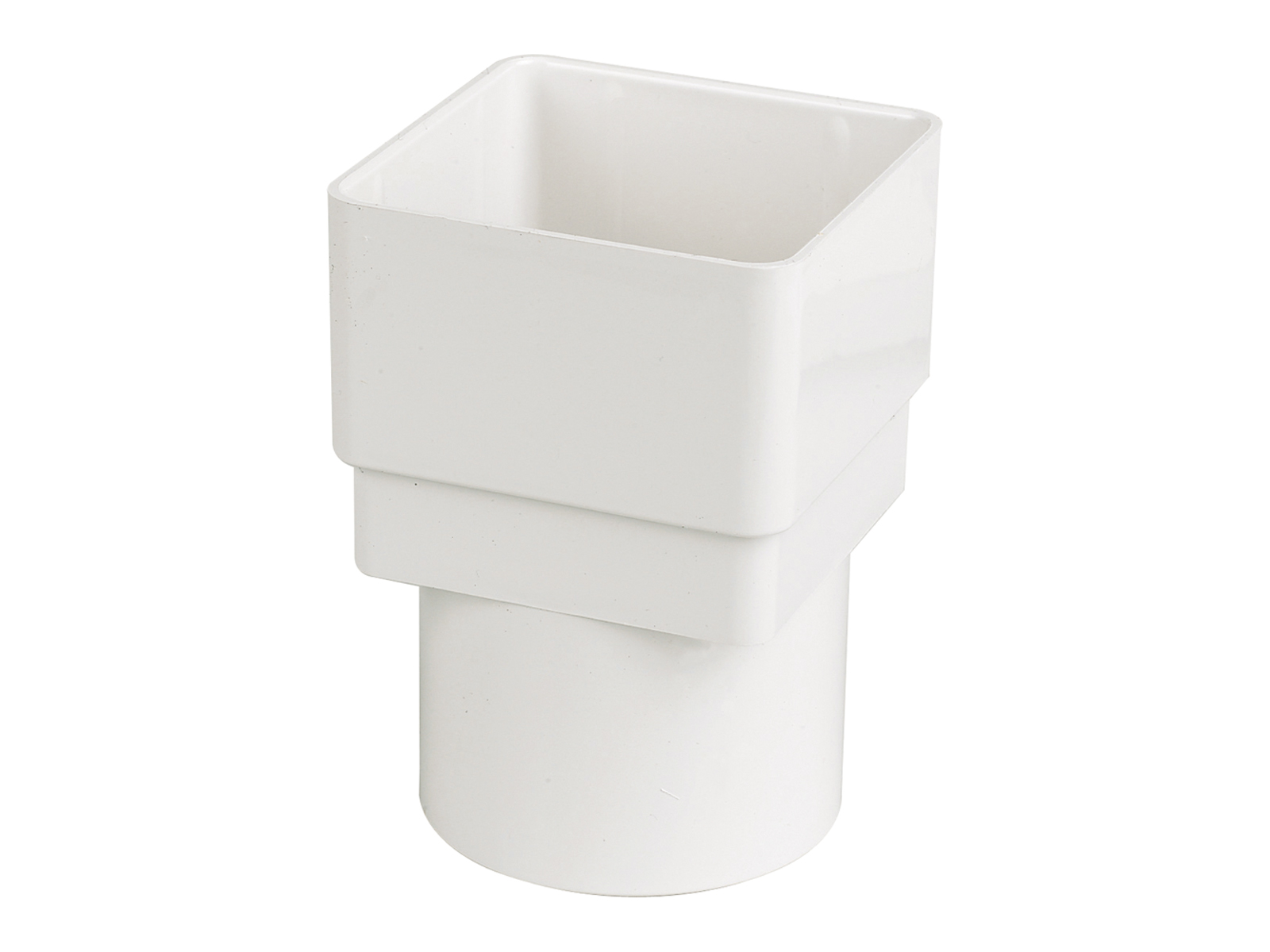 FLOPLAST SQUARE TO ROUND DOWNPIPE CONNECTOR RDS2 - WHITE