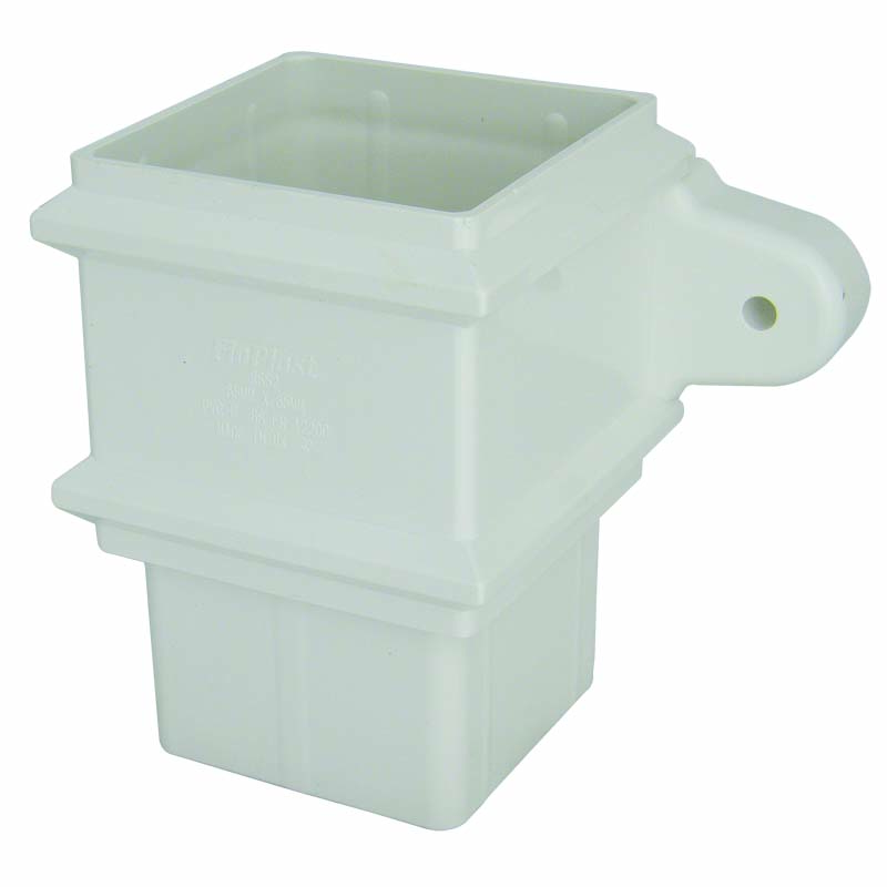 FLOPLAST 65MM SQUARE DOWNPIPE - RSS2 CLASSIC PIPE SOCKET - WHITE