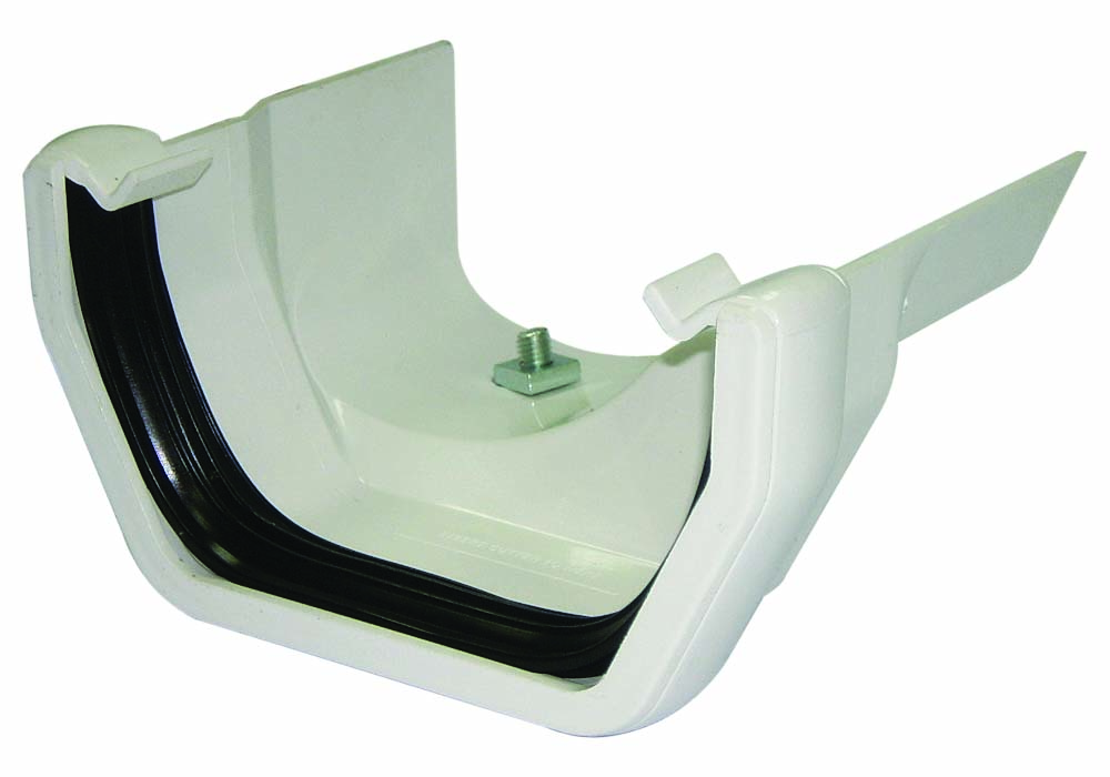 FLOPLAST SQUARE GUTTER TO CAST IRON OGEE - RDS3 RIGHT HAND ADAPTOR - WHITE