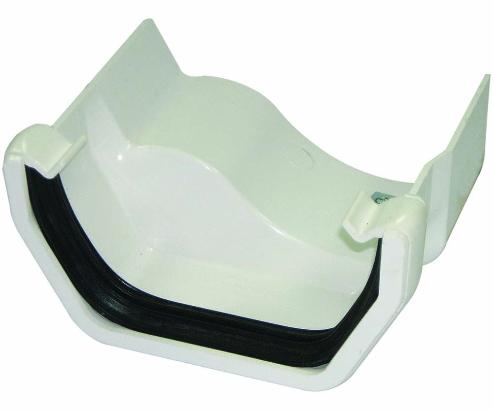 FLOPLAST SQUARE GUTTER TO CAST IRON OGEE - RDS4 LEFT HAND ADAPTOR - WHITE