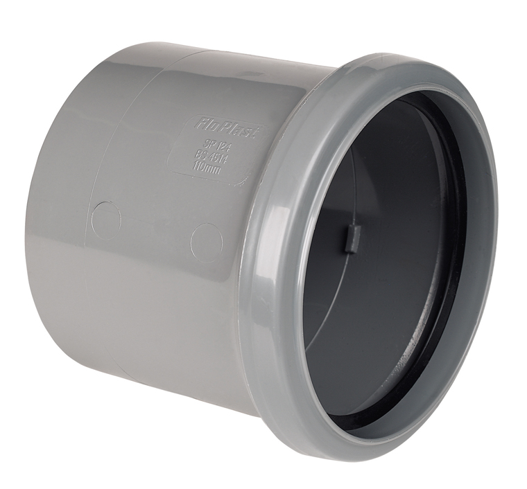 FLOPLAST 110MM RING SEAL SOIL SYSTEM - SP124 COUPLING S/S - GREY