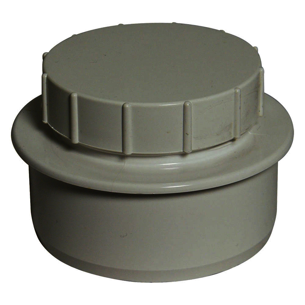 FLOPLAST 110MM RING SEAL SOIL SYSTEM - SP292 SCREWED ACCESS PLUG - GREY