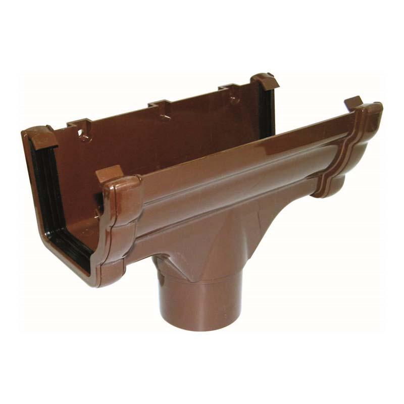 Floplast RON1BR 110mm Niagara Ogee Gutter - Running Outlet - Brown