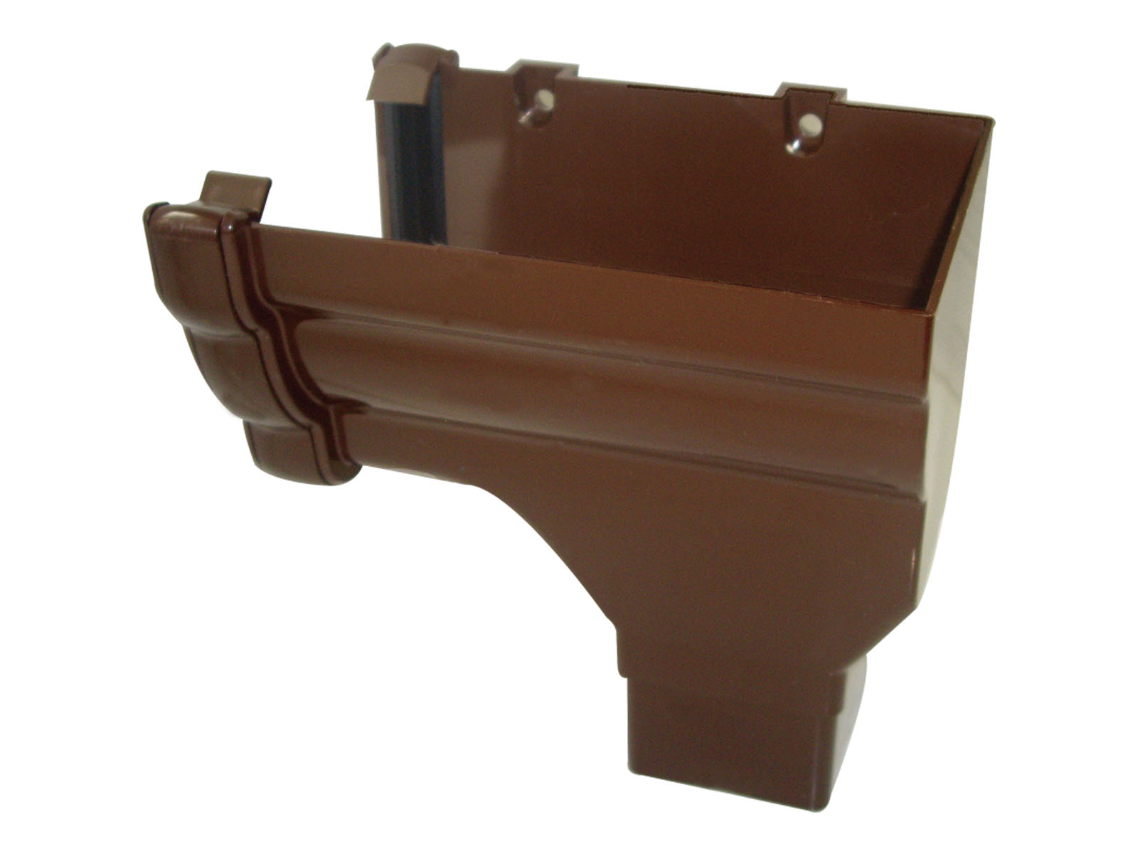 RON3BR RH S/END OUTLET NIAG GUTTER BROWN