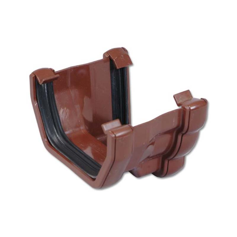 Floplast RNS3BR 110mm Niagara Ogee Gutter to 114mm Square Line Gutter Adaptor - Right Hand - Brown