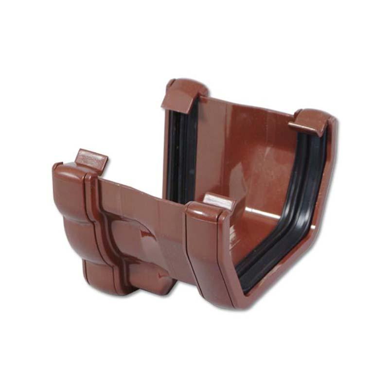 Floplast RNS4BR 110mm Niagara Ogee Gutter to 114mm Square Line Gutter Adaptor - Left Hand - Brown