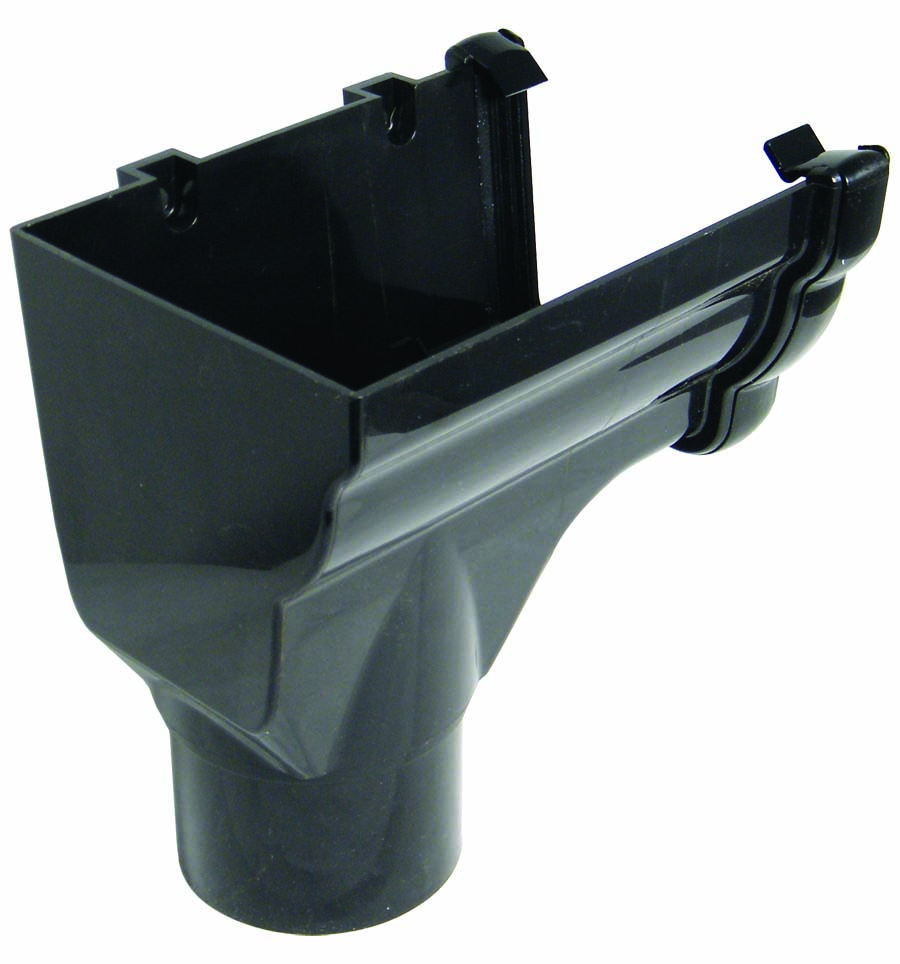 RON2BL LH S/END OUTLET NIAG GUTTER BLACK