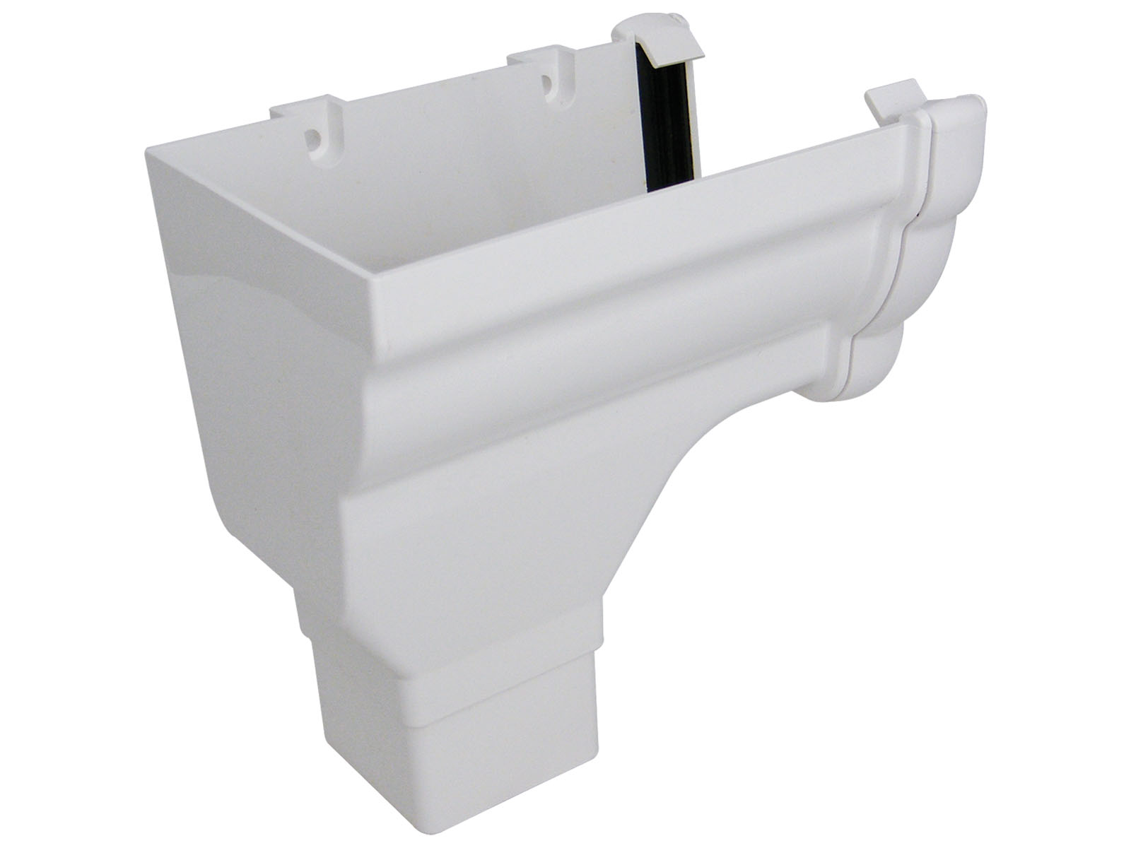 RON2W LH S/END OUTLET NIAG GUTTER WHITE