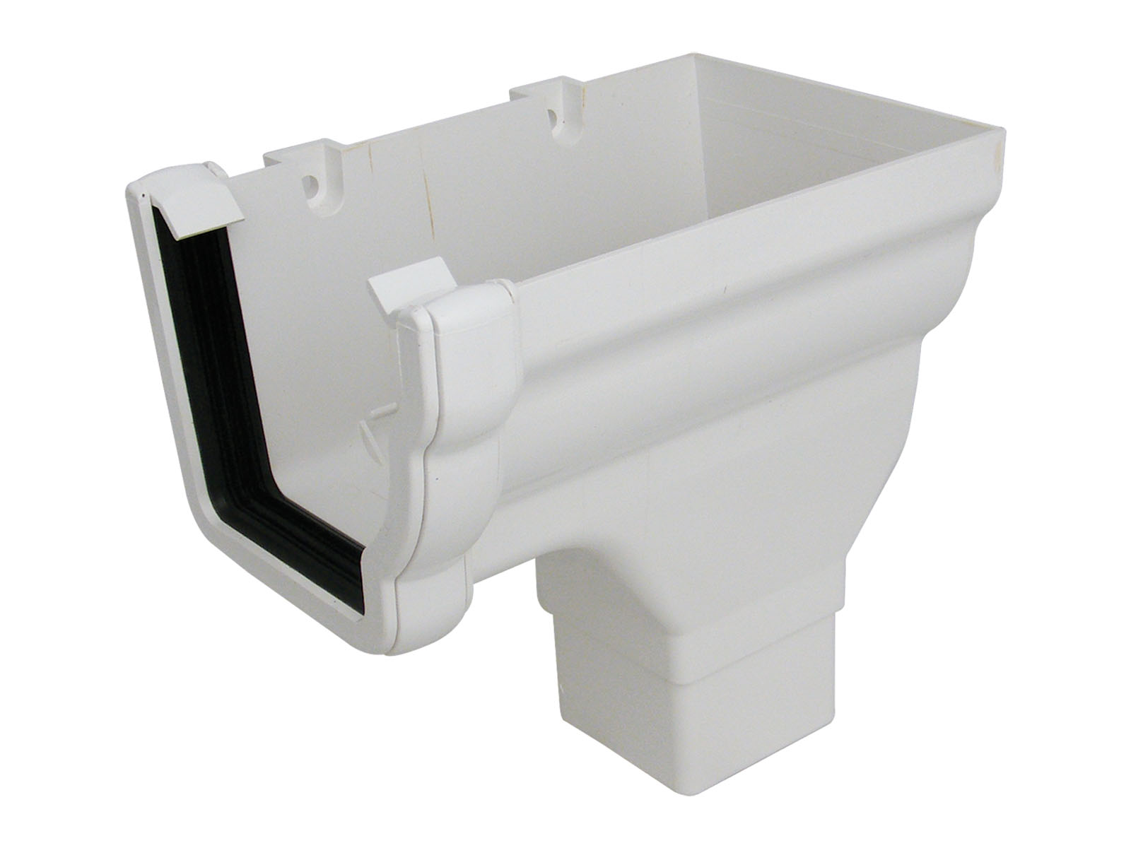 RON3W RH S/END OUTLET NIAG GUTTER WHITE