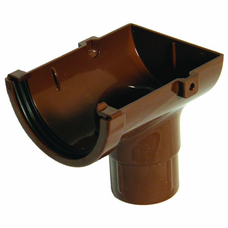 FLOPLAST MINIFLO 76MM GUTTER - ROM2 STOPEND OUTLET - BROWN