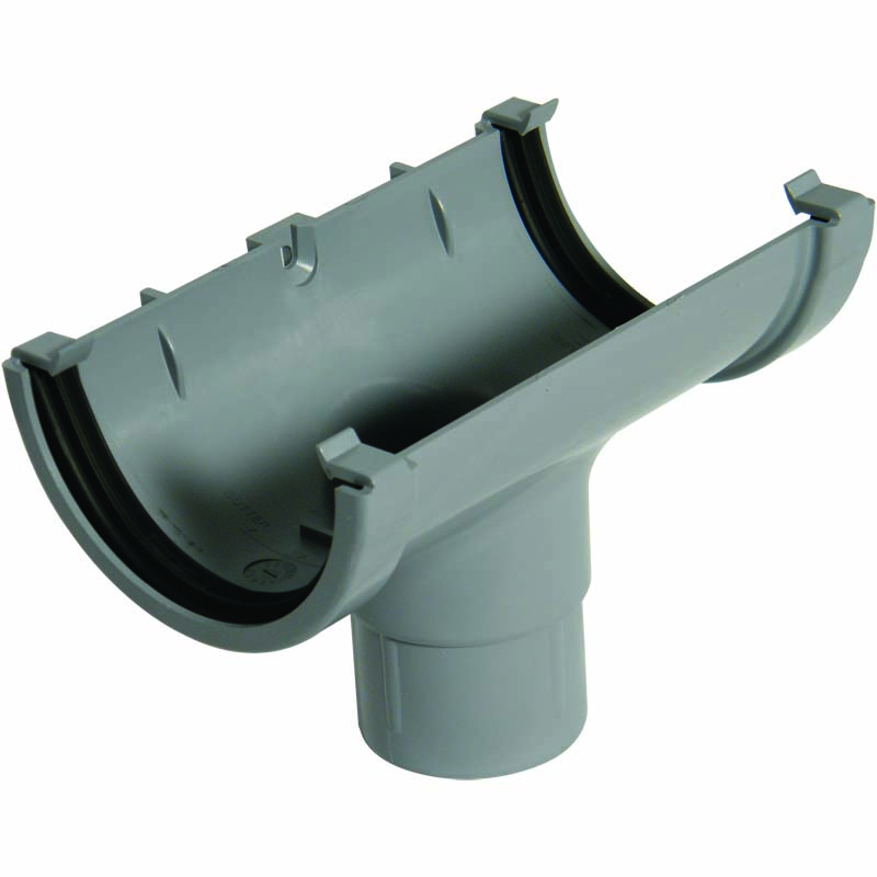 FLOPLAST MINIFLO 76MM GUTTER - ROM1 RUNNING OUTLET - GREY